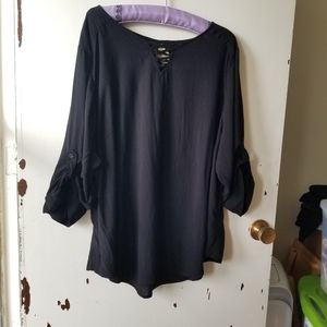 Black Top with Long Belted Sleeves and Lace UpNeck